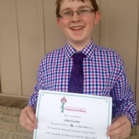 Aidan London received a mark of 92 in class 313K - Vocal - Quick Study - 13 years and under.