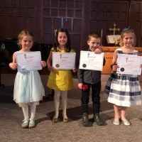 Class 306B - Vocal - Own Choice - 6 years and under L-R Siena Arsenault, Annabelle Ramsay, Chase Hickey, Lauren Vautour